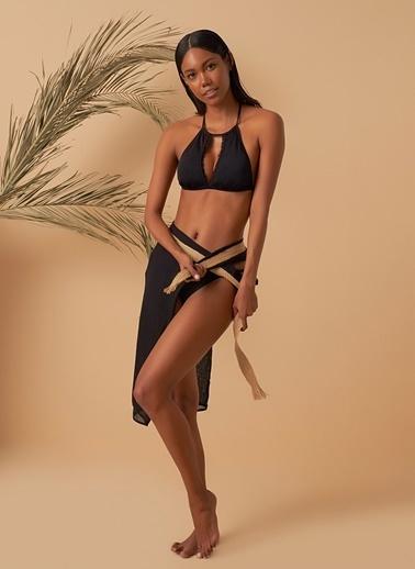 Loves You Yaka Dantel Güpürlü Dekote Bikini Takım Siyah